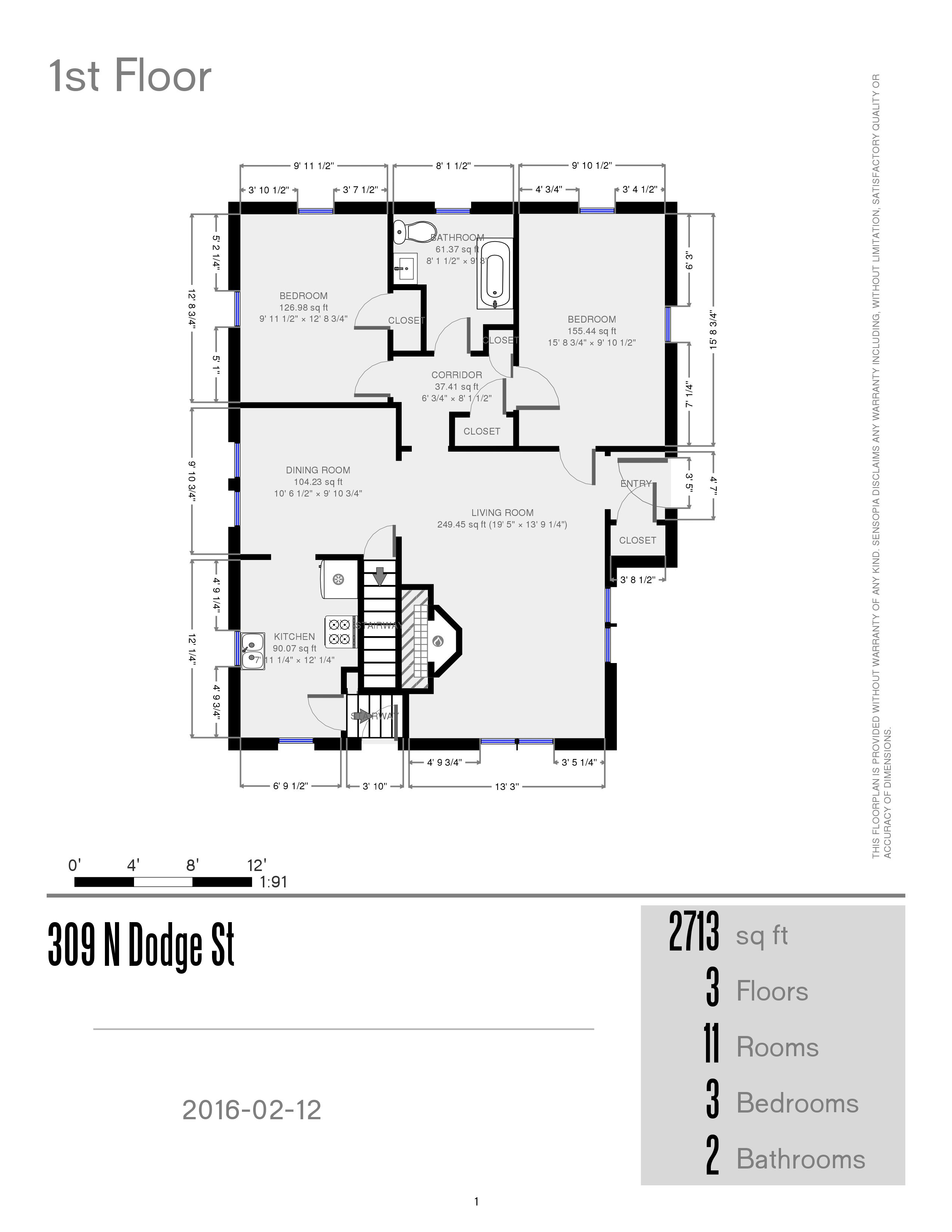 Prestige properties llc 309 n dodge house 3br 2ba for 3br 2ba floor plans