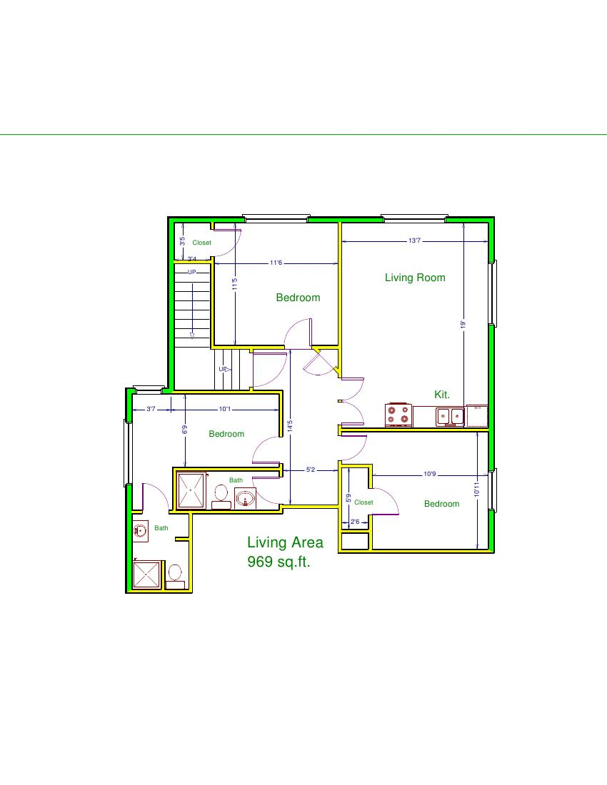 Prestige properties llc 606 e jefferson apt c 3br 2ba for 3br 2ba floor plans