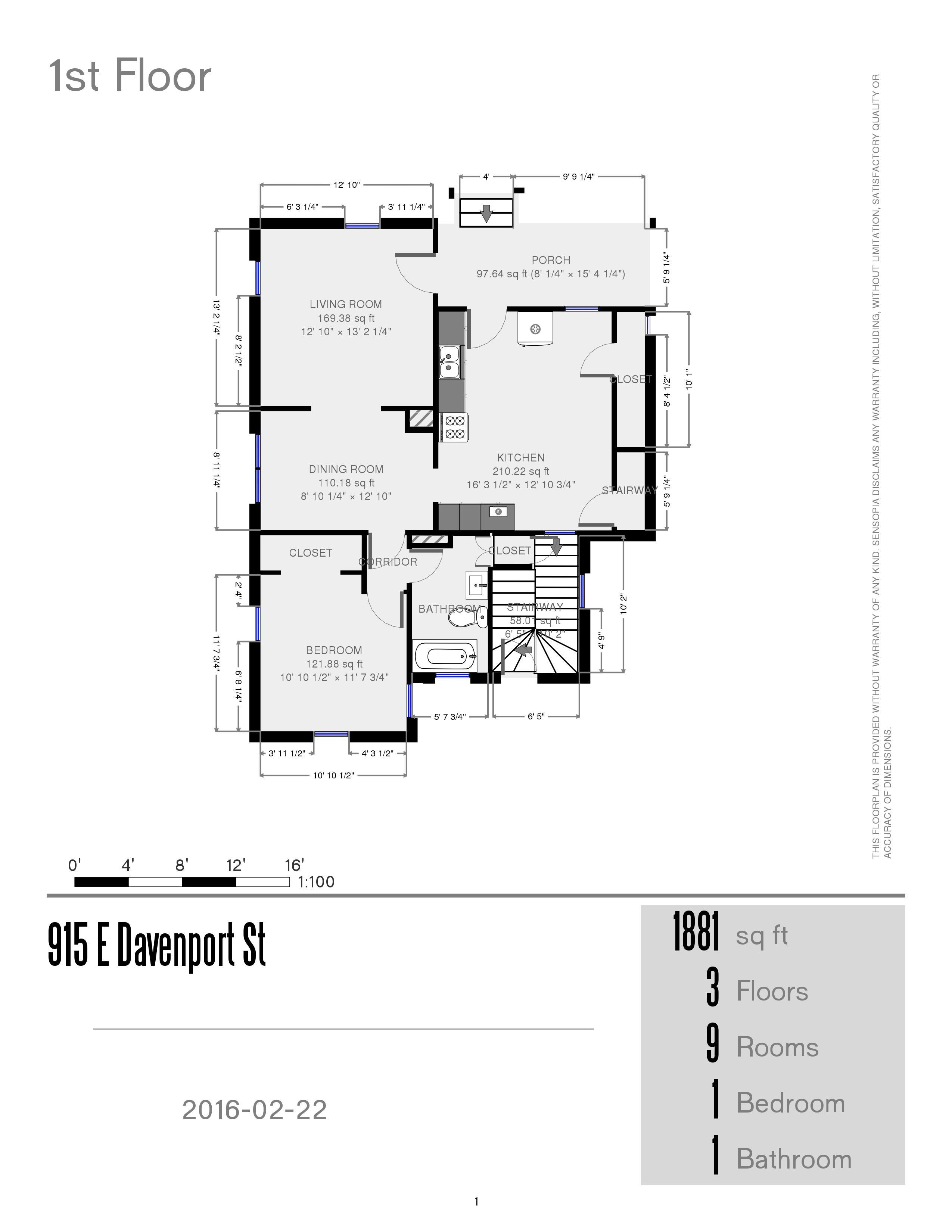 Prestige properties llc 915 e davenport house 2br 1ba for Main street homes floor plans